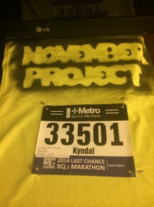 Race Bib and November Project Shirt - all ready for the AM!